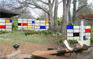 Freestanding panels proposed to create depth and interest, and to screen backyard neighbor; translucent fiberglass with blocks of solid color. Design by SCLA; inspired by a Garrett Eckbo design, which was in turn inspired by painter Piet Mondrian.